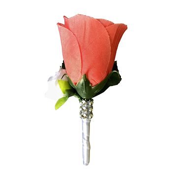 Boutonniere:Coral rose bud with mini white rose. silk flower (Out of Stock)