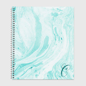 Teal and White Marble Notebook, Waterproof Cover, Journal, Personalized Notebook, School Supplies, Marble Look Notebook, College Ruled