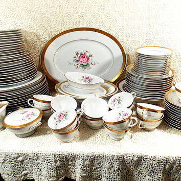 Vintage Fine China Dinnerware, Style House Dresden Rose, Pink roses, wide gold band, 95 piece set, service for 12 plus serving pieces.