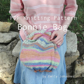 Bonnie Bag PDF Knitting Pattern, Cotton Market/Shopping/Grocery Tote, Shoulder Sling Bag
