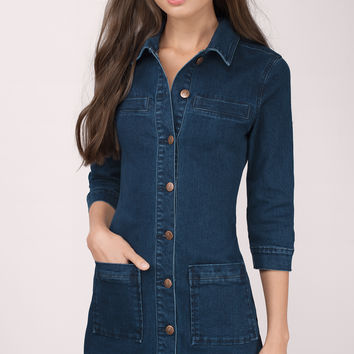 MINKPINK Breaking Ties Denim Shirt Dress