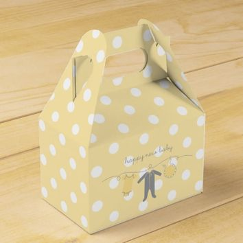 Welcome Baby Y&G- Happy New Baby Gable Box Yellow Favor Boxes