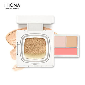 Professional IFIONA CUSHION BB cream 4in1 base MAKEUP foundation set gift box with brightener, concealer, blush cosmetics kit,