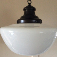 Vintage School House Pendant Light Milkglass Shade Art Deco Original Holder and Canopy 1930s