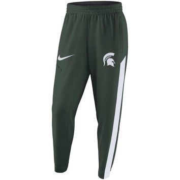 Men's Nike Green Michigan State Spartans 2017-2018 Elite Basketball Player Performance Warm-Up Pants