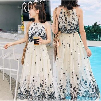 Japanese Women's Maxi Dresses Summer Floral Bohemian Suspenders Chiffon Dress Flowy Beach Party Strap Boho Long Dresses