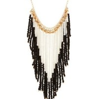Black Beaded Fringe Statement Necklace by Charlotte Russe
