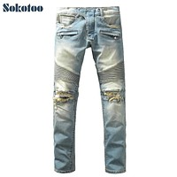 Sokotoo Men's fashion vintage washed blue holes ripped biker jeans Slim straight stretch denim pants Long trousers