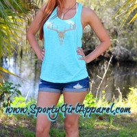 this country girl deer skull hunting tank top is made to have stand out with a beautiful mint teal western color