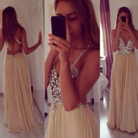Homecoming Dress, Straps V Neck Chiffon Backless Long Prom Dress