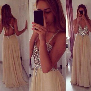 Elegant V Neck Champagne Backless Prom Dresses with Crytals