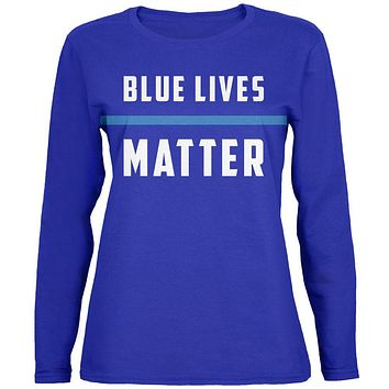 Police Blue Lives Matter Thin Blue Line Womens Long Sleeve T Shirt