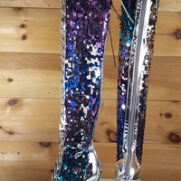 Silver Multi Color Sequin Lace Up Above Knee High Heel Thigh Boot