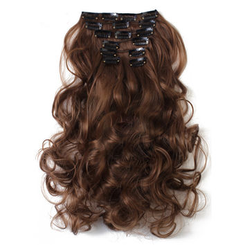 7pcs Suit Clips in Hair Extension Curled Wig Piece   4/30