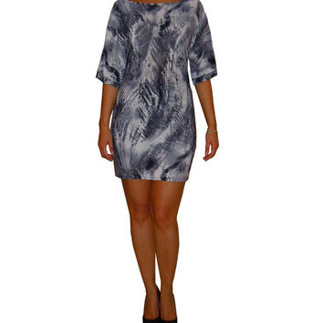 Off shoulder dress / tunic with boat neck kimono sleeves loose top and fitted bottom