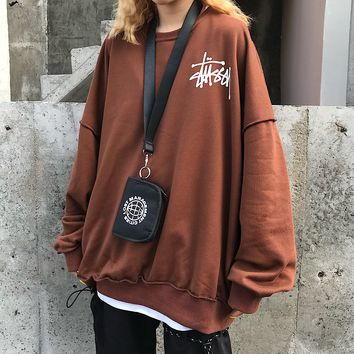 Stussy fashion hot selling casual couplettes pleated design circular collar hoodie Coffee