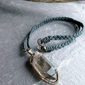 Raw Smoky Quartz Necklace, Wire Wrap Bronze on Braided Black Hemp, Unisex Rustic Shamanic Druid Necklace, Rough Black Crystal, Gothic Wicca