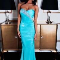 Entrancing Turquoise & Silver Structured Maxi Dress | Pink Boutique