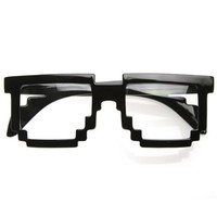 zeroUV - Pixelated 8-Bit Clear Lens Computer Nerd Geek Gamer Glasses