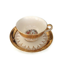 Homer Laughlin 22 Karat Gold Eggshell Nautilus Cup and Saucer A45NS