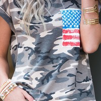 Independence Day Camouflage Pattern Short Sleeve Crew Neck American Flag Pocket Tee Shirt (Pre-order)