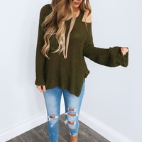 Start Something Sweater: Olive