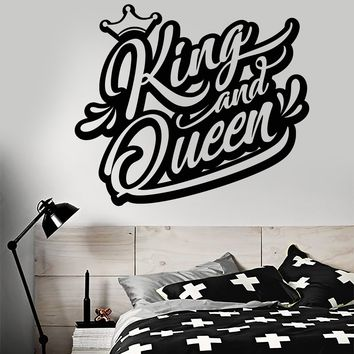 Vinyl Wall Decal Logo King And Queen Crown Words Graffiti Stickers (2140ig)