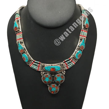 Ethnic Tribal Nepalese Green Turquoise & Red Coral Inlay Statement Necklace, E32