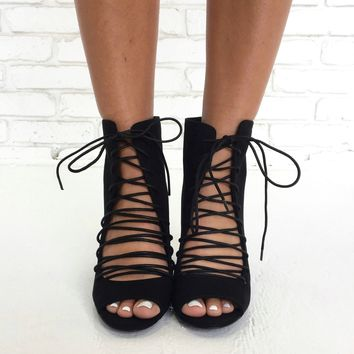 Reece Lace Up Bootie Heels in Black
