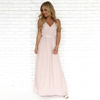 Ooh La La Maxi Dress in Blush Pink