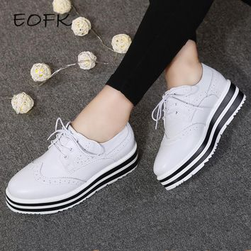 eofk spring leather women flat platform shoes brogue vintage shoes for women leather f  number 1