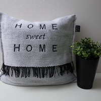 Decorative Pillows, home sweet home, pillows for couch, personalized pillows, black white, handwoven cushion, boho pillow, glamorous