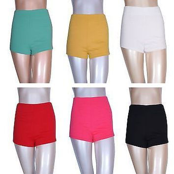 High Waisted Candy Colors Mini Skinny Shorts Slim Fit Stretch with Zipper Back