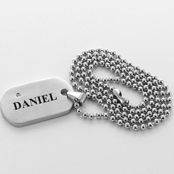 Personalized Pendant for Men, CZ Name Dog Tag, First Communion Gift, Confirmation Gift, Necklace for Boys, Graduation Gift, Fathers Day Gift