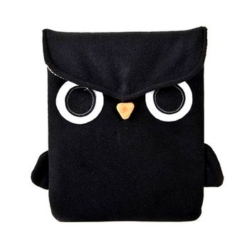 Owl Bird Animal Themed Fully Lined iPad Sleeve Case in Black Fleece