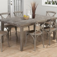 "Driftwood Grey Coastal Collection 72"" Rectangle Dining Table"