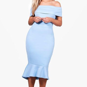 Boohoo Womens Plus Size Anita Off The Shoulder Peplum Midi Dress