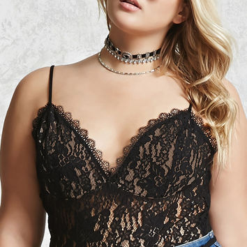 Plus Size Lace Cami Bodysuit