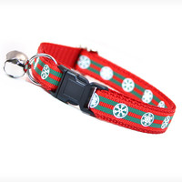 "Cat Collar - ""Santa Baby"" - Red & Green Christmas Santa Belt Pattern"