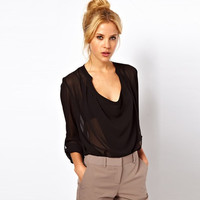 V-Neck Roll-Up Sleeve Chiffon Blouse