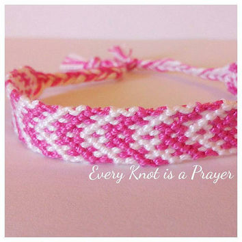 Pink and White Macrame Knotted Friendship Bracelet
