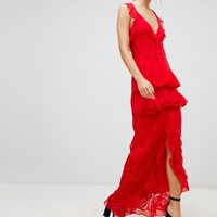 PrettyLittleThing Tiered Lace Maxi Dress at asos.com