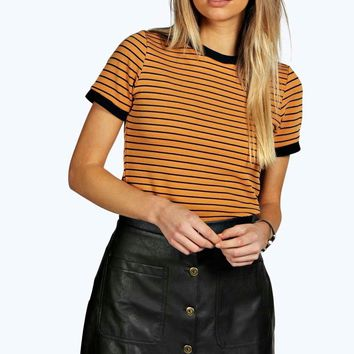 Emma Ribbed Contrast Ringed Tee
