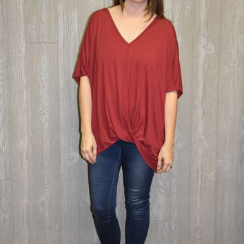 Red Crossover Top