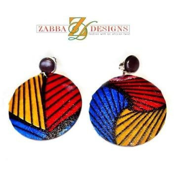 Large Round Fabric Covered Wood Earrings Red Blue Gold