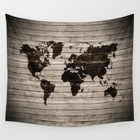 Vignette world map Wall Tapestry by Hedehede