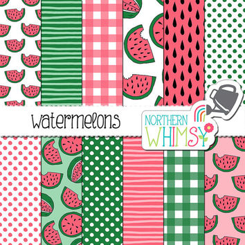 Watermelon Digital Paper - pink and green hand drawn seamless patterns - watermelons, polka dot & gingham scrapbook paper - commercial use
