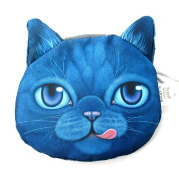 Hungry Kitty Cat Face Shaped Soft Fabric Zipper Coin Purse Make Up Bag in Dark Blue