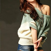 Women New Color-Block Sweater V-neck Green and Beige Top @T670gr - $12.99 : DressLoves.com.