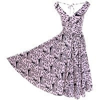 1980s Lillie Rubin Vintage Dress in Pink and Black Graphic Abstract Cotton Print